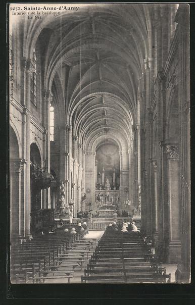 AK Sainte-Anne-d'Auray, Interieur de la Basilique mit Orgel, La Nef