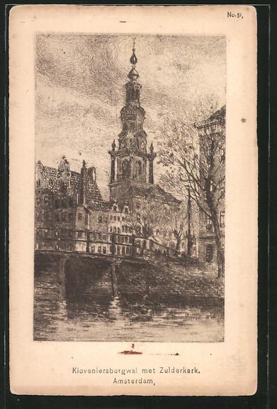 AK Amsterdam, Kloveniersburgwal met Zuiderkerk