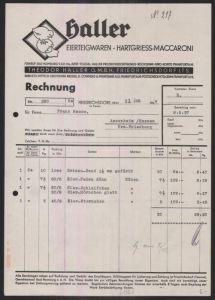 rechnung friedrichsdorf 1937 haller eierteigwaren hartgriess maccaroni theodor haller gmbh. Black Bedroom Furniture Sets. Home Design Ideas