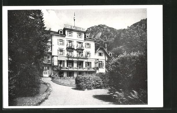 AK Vitznau, Hotel Alpenrose, Bes. Fam. Achermann-Hoffmann, vom Weg aus