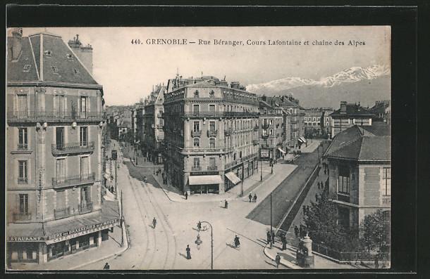 AK Grenoble, Rue Béranger, Cours Lafontaine et chaine des Alpes