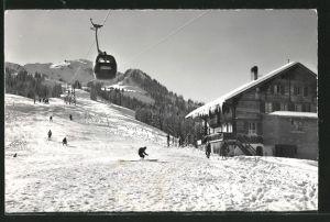 AK Zweisimmen, Berghaus Gobeli Rinderberg mit Gondelbahn