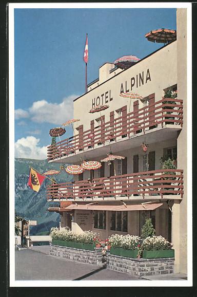 AK Mürren, Hotel Alpina mit Terrasse
