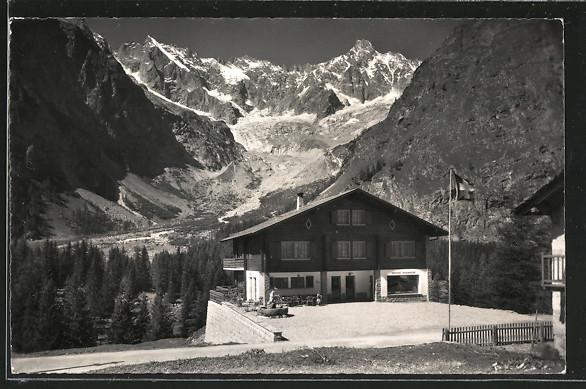 AK La Fouly, Blick auf Pension-Restaurant Edelweiss, Bes. X. Kalt