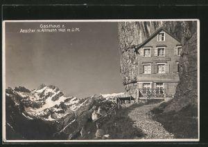 AK Aescher, Blick auf Gasthaus mit Altmann