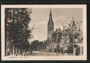 AK Voorburg, R.K.Kerk von der Strasse aus