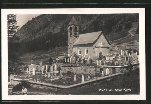 AK Pontresina, Santa Maria mit Friedhof