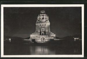 AK Leipzig, Völkerschlachtdenkmal während der Lichtwoche