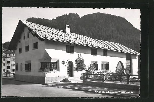 AK Pontresina, Blick auf Engadinerhaus