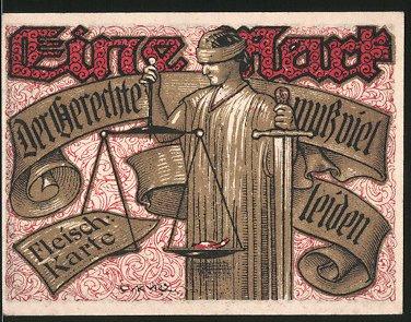 Notgeld Tonndorf-Lohe 1921, 1 Mark, Justitia hält Waage & Schwert