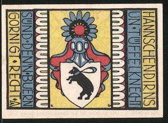 Notgeld Carlow 1921, 50 Pfennig, Stadtwappen, Männer blasen das Horn