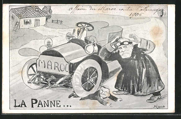 Künstler-AK La Panne..., Karikatur Emil Loubet Präsident von Frankreich überfährt einen Mann, Auto Maroc