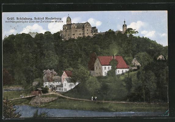 AK Rochsburg, Blick auf Gräfl. Schönburg mit Hängebrücke über der Zwickauer Mulde