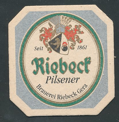 Bierdeckel Riebeck Pilsener, Brauerei Riebeck Gera, Wappen der Bierbrauerei