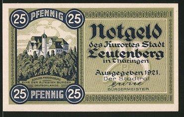 Notgeld Leutenberg in Thüringen 1921, 25 Pfennig, Schloss Friedensberg, Stadtwappen