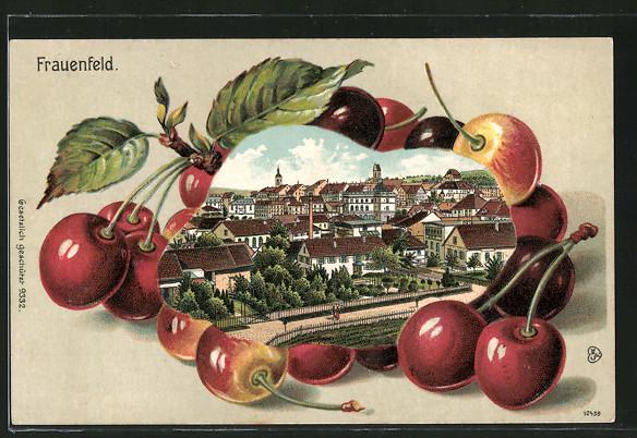 Passepartout-Lithographie Frauenfeld, Ortsansicht von Kirschen umrandet
