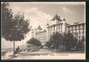 AK Caux, Palace, La Promenade, femmes assises sur des bancs