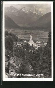 AK Imst, Ortspanorama gegen Mieminger Berge