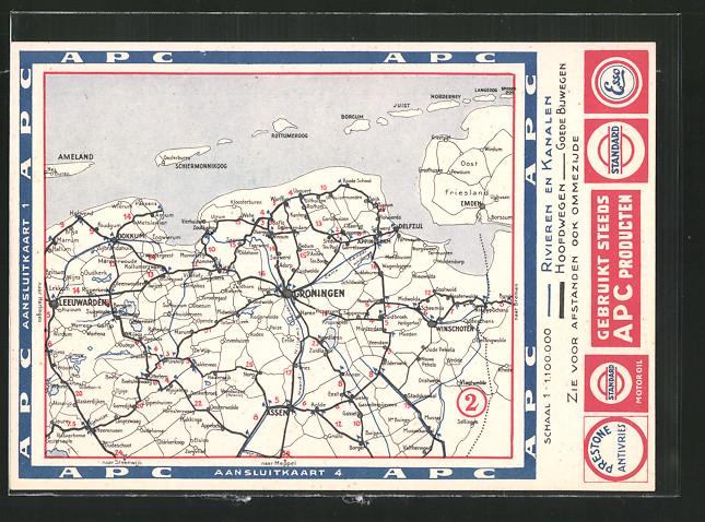 AK Groningen, Landkarte der Umgebung mit Tankstellen-Reklame Esso, Standard