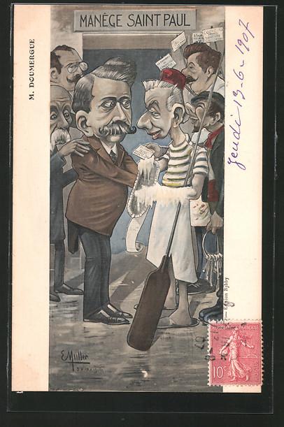 AK Karikatur des französischen Politikers Doumergue