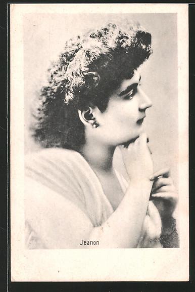 AK Schauspielerin Jeanon im Halbprofil porträtiert