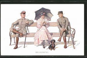 Künstler-AK Th.Zasche: Zwei Soldaten in Uniform flirten mit einer jungen Dame mit Schirm und Hut auf einer Bank