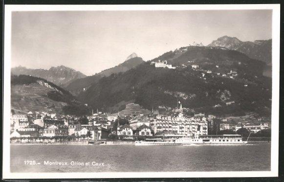 AK Montreux, Ortsansicht, Glion et Caux, Schiff