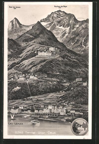 AK Territet, Panorama mit Territet, Glion und Caux