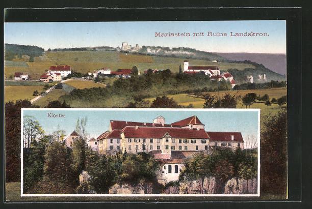 AK Mariastein, Panorama mit Ruine Landskron und Kloster