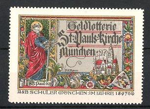 Reklamemarke Geldlotterie der St. Paulskirche München 1897, Schuler-Verlag München, St. Paul und Kirche