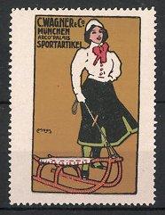 Künstler-Reklamemarke Moos, Sportartikel C. Wagner & Co., München, Mädchen mit Schlitten