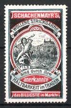 Reklamemarke Schachmayr's wollene Strickgarne,