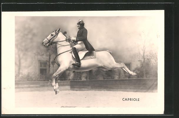 AK Dressurreiten, Capriole, Reiter in Uniform auf seinem Pferd im Sprung