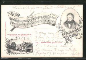 AK Hinterbrühl, Höldrichsmühle, Geburtshaus der Schubert\'schen Müllerlieder, Noten, Portrait Schubert
