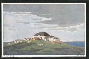 Künstler-AK Berthold Clauss: Die Hallig mit Schafen auf der Weide