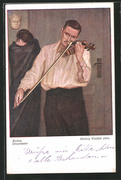 Künstler-AK Hedwig Wollner: Misston, Mann beim Geigespielen