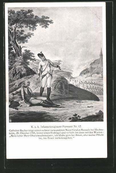AK Befreiungskriege, Gefreiter Bucher trägt den verwundeten Major Grafen Macauly aus dem Schussfeld, Inf. Rgt. Nr. 12