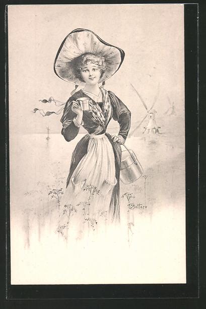 Künstler-AK E. Bottaro: hübsches Bauernmädchen in Tracht, Windmühle im Hintergrund