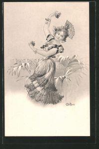 Künstler-AK E. Bottaro: hübsche junge Tänzerin mit Kastagnetten