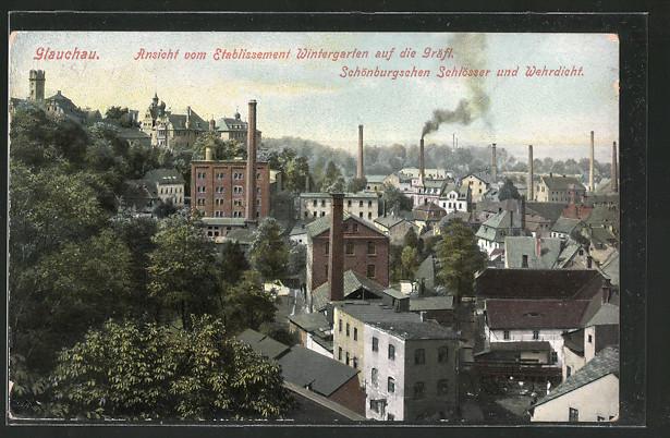 AK Glauchau, Ansicht vom Etablissement Wintergarten auf die Gräfl. Schönburgschen Schlösser & Wehrdicht