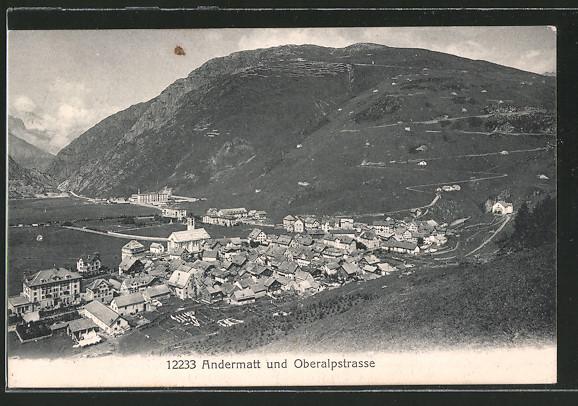 AK Andermatt, Oberalpstrasse vom Ort aus losgehend
