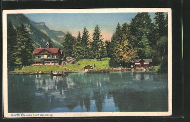 AK Kandersteg, Blausee mit Boots- und Wohnhaus