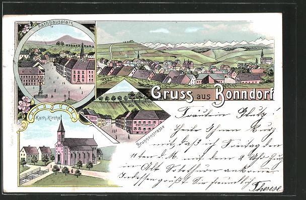 Lithographie Bonndorf, Partie in der Brunnenstrasse, katholische Kirche, Rathausplatz und Gesamtansicht 0