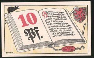 Notgeld Braunschweig 1921, 10 Pfennig, Stadtwappen, Gotthold Ephraim Lessing