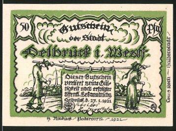 Notgeld Delbrück in Westfalen 1921, 50 Pfennig, Bauern in Tracht, Priester beim Gebet