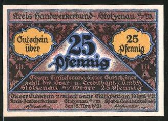 Notgeld Stolzenau an der Weser 1921, 25 Pfennig, Schneider bei der Arbeit und Gildewappen