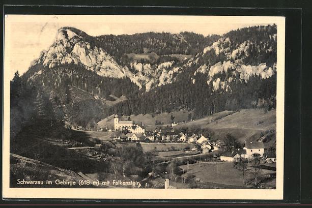 AK Schwarzau im Gebirge, Panorama mit Kirche und Falkenstein