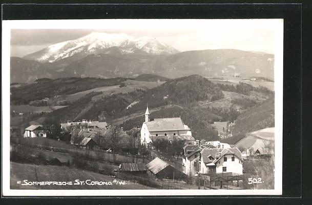 AK St. Corona a. Wechsel, Ortspanorama mit Bergen