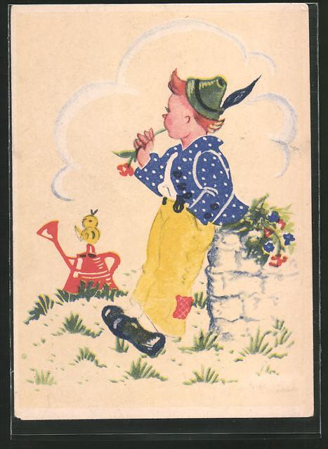 Künstler-AK Inge Schott: Junge in Tracht mit Blume