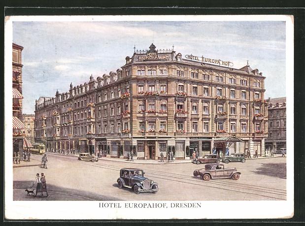 ak dresden hotel europahof prager strasse nr 5371368 oldthing ansichtskarten deutschland. Black Bedroom Furniture Sets. Home Design Ideas